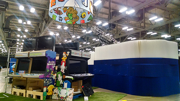 Our booth space this year. (The blue and white walled structure is our gift shop)