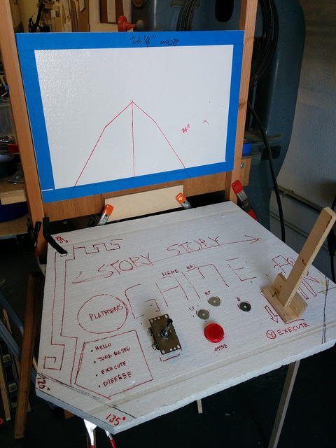 An early prototype of our Game 4 arcade cabinets