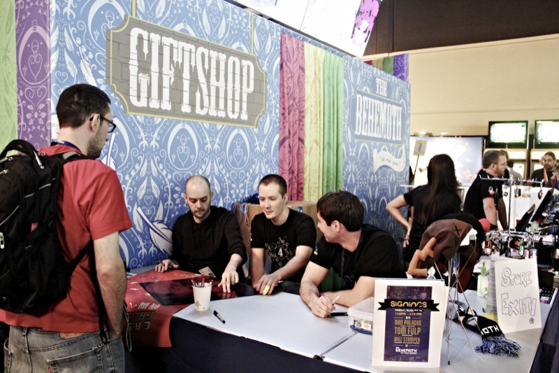 From left to right: A Red Shirt discussing the meaning of life with Will Stamper, Dan Paladin, Tom Fulp...