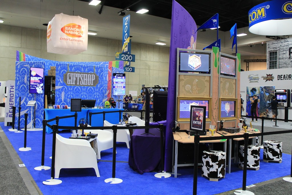 Pit People stations at our booth. 2-player Co-Op stations (left) and Single player stations (right)
