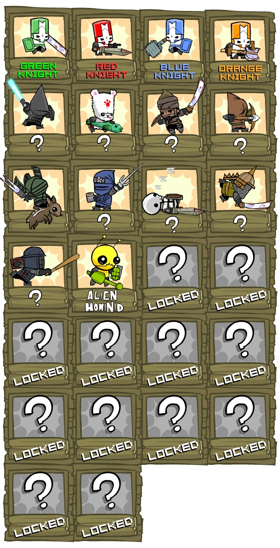 Unlock Characters cheats for Castle Crashers on PS3