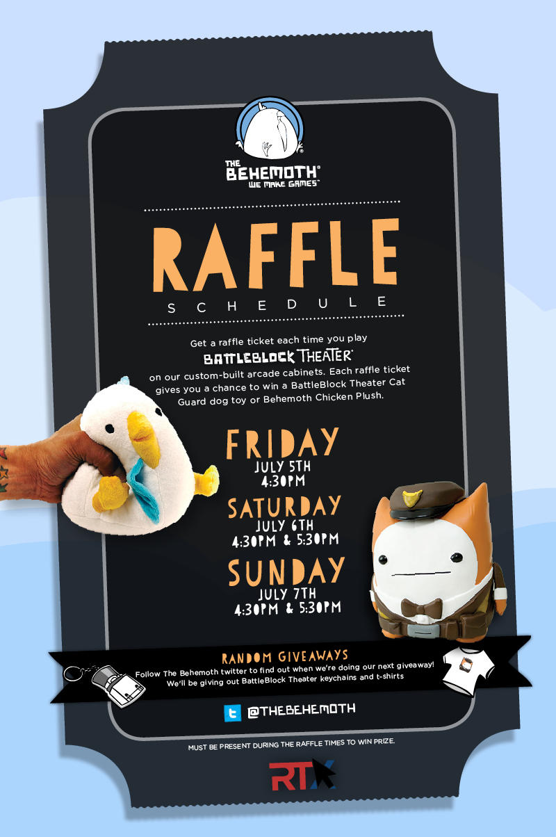 The behemoth blog rtx 2013 july 5th thru july 7th for a chance to win a bbt cat guard toy or behemoth chicken plush and have the opportunity to buy some awesome merchandise from bbt and castle crashers publicscrutiny Choice Image