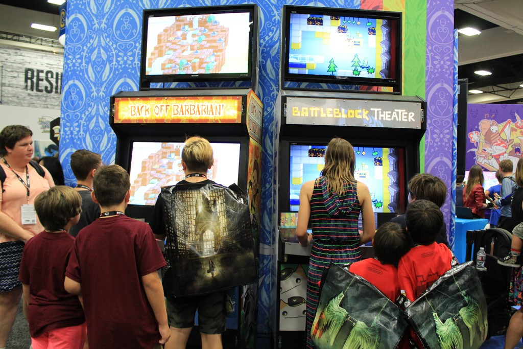 We got to see more lines for our games. Here's Back Off Barbarian & BattleBlock Theater in our custom built arcade cabinets.