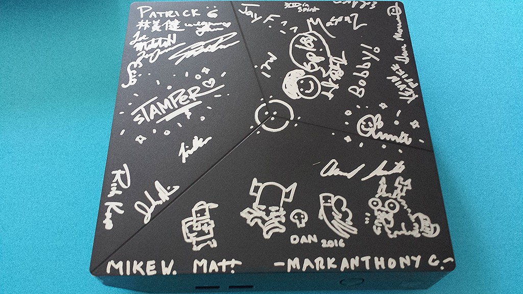 The autographed Alienware Alpha for the PAX West winner will look different because we're currently still collecting signatures.