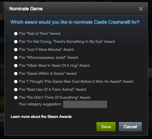 "2) Choose the Award you want to nominate the game for and then click ""Save"""